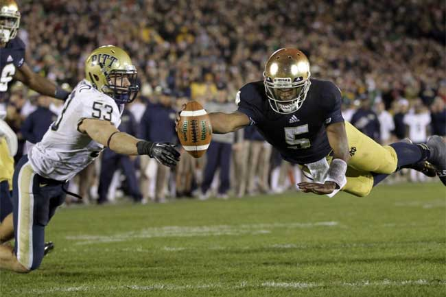Quarterback Everett Golson will miss the 2013-14 season after being declared academically ineligible.